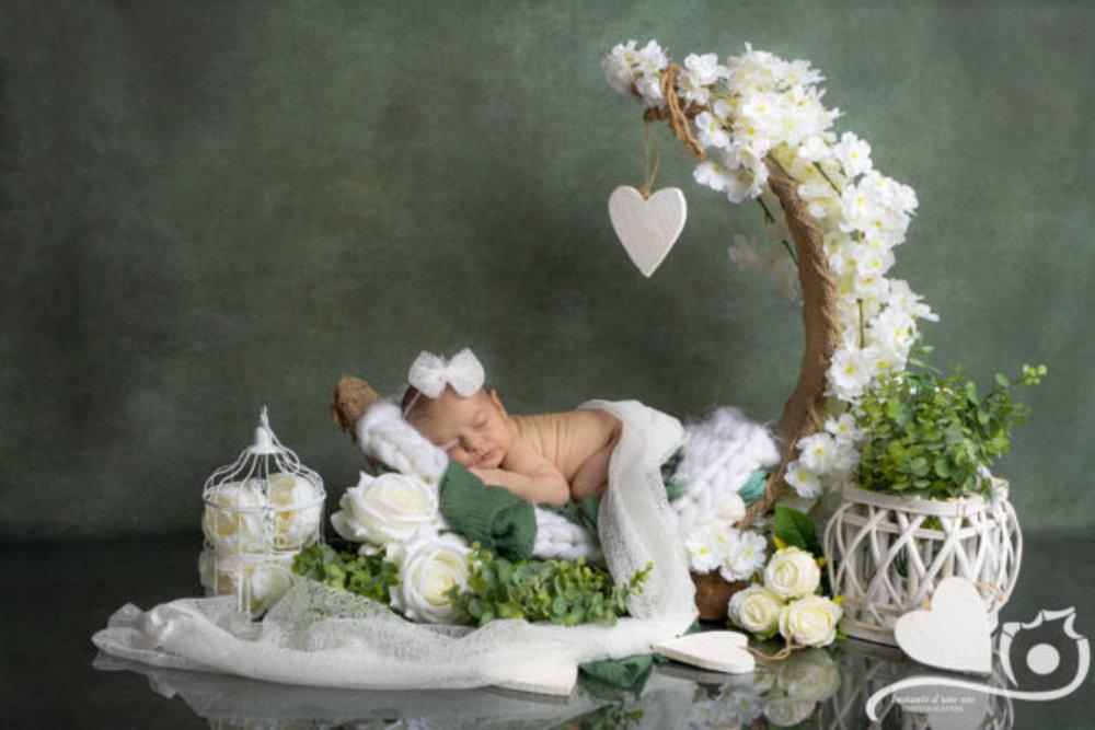 """Les séances se réalisent le matin car l'après-midi c'est compliqué de photographier un bébé.Une fois bébé venu au monde, la prise de rendez-vous se fait dans les 48h après l'accouchement.Pour les photographies de """"Newborn"""" cela doit se faire dans les 14 premiers jours de vie. Je donne les rendez-vous de séance en fonction d'un certains nombre de critères, car en fonction des réponses on ne fait pas la séance au même nombre de jours.- est-ce un premier bébé?- est-ce un bébé qui sera allaité?- est-ce un premier allaitement ou pas? La séance photo se fait au rythme du bébé, en fonction des biberons ou allaitement. Si bébé est au biberon toujours en prévoir un peu plus au cas où cela dure un peu plus longtempsLe studio est chauffé, un bruit blanc est en fond pendant toute la durée de la séance et je manipule votre bébé tout en douceur et de façon sécurisée.Je vous envoi également pour préparer la séance une série de conseils à bien lire, cela facilite le bon déroulement de la séance.Lors de la présence de frère(s) et sœur(s), je commence par les photos du bébé seul, c'est à dire que je garde au studio que la maman et le nouveau-né et ensuite et je fais venir au studio le papa et les grands frère et sœurs pour les photos de famille et de fratrie. Le cycle de sommeil profond du nouveau-né étant très court je fonctionne comme cela.En effet pour les grands la séance devient vite très longue et ils s'impatientent (ce qui est normal). Du coup pour garder un climat serein je fonctionne comme ceci.Lors d'une séance, je ne travaille jamais la montre en main, cela veut dire que le temps de séance indiqué peut varieret être un peu plus long. Ne prévoyez pas de rendez-vous directement après la séance car on peut ne pas finir à l'heure.Le maître mot d'une séance nouveau-né c'est la patience.Je propose des mises en scènes soignées, j'ai plein d'accessoires et également des petits vêtements pour les bébés.Il y deux mises en scène proposées pour la """"mini-séance"""" et 4 mises en scène pou"""